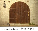old wooden closed gate with... | Shutterstock . vector #698571118