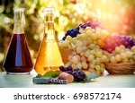 red and white wine   autumn... | Shutterstock . vector #698572174