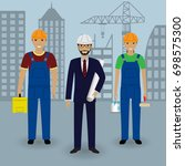 construction people. engineer... | Shutterstock . vector #698575300