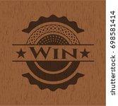 win wooden emblem | Shutterstock .eps vector #698581414
