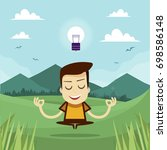 young man with idea bulb on... | Shutterstock .eps vector #698586148