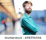 young proud blonde man. happy... | Shutterstock . vector #698596546