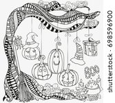 pattern for coloring book. set... | Shutterstock .eps vector #698596900