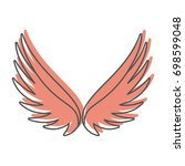 angel wings doodle icon vector... | Shutterstock .eps vector #698599048