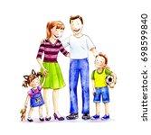happy family . watercolor... | Shutterstock . vector #698599840