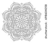 mandala. black and white... | Shutterstock .eps vector #698604058