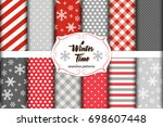 set of 12 cute seamless winter... | Shutterstock .eps vector #698607448