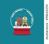 flat design souvenir snow globe ... | Shutterstock .eps vector #698610154