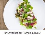 beef veel sandwich  flat lay... | Shutterstock . vector #698612680
