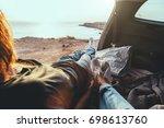 man and woman relaxing inside... | Shutterstock . vector #698613760