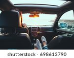 fall car trip in sunset....   Shutterstock . vector #698613790