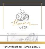 beautiful logotype for flowers... | Shutterstock .eps vector #698615578