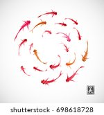 circle with little red and... | Shutterstock .eps vector #698618728