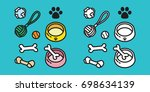 Stock vector dog toy puppy icon dog paw vector illustration doodle 698634139