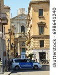 Small photo of LECCE, ITALY - AUGUST 2, 2017: view of St. Irene church from Piazza Sant'Oronzo square, Lecce, Italy