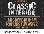 vintage font  handcrafted... | Shutterstock .eps vector #698645248