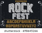 vintage font alphabet... | Shutterstock .eps vector #698645266