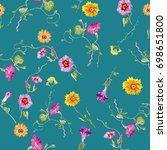 floral seamless pattern.raster...   Shutterstock . vector #698651800