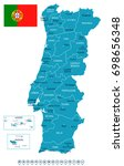 portugal map and flag   vector... | Shutterstock .eps vector #698656348