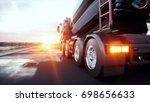 concrete mixer truck on highway.... | Shutterstock . vector #698656633
