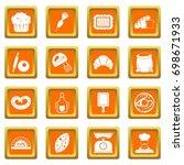 bakery icons set in orange... | Shutterstock .eps vector #698671933