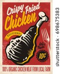 crispy fried chicken retro... | Shutterstock .eps vector #698675383