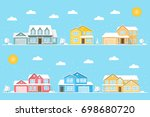 neighborhood with homes and... | Shutterstock .eps vector #698680720