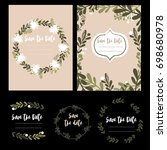 cute floral wedding invitation  | Shutterstock .eps vector #698680978