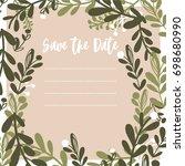cute floral wedding invitation  | Shutterstock .eps vector #698680990