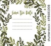 cute floral wedding invitation  | Shutterstock .eps vector #698681008