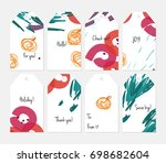 hand drawn creative tags.... | Shutterstock .eps vector #698682604
