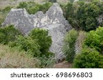 becan pyramid in campeche... | Shutterstock . vector #698696803