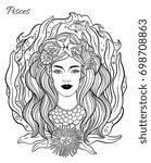 zodiac sign pisces woman. hand... | Shutterstock .eps vector #698708863