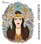 zodiac sign taurus woman. hand... | Shutterstock .eps vector #698708878