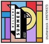 abstract geometric summer... | Shutterstock .eps vector #698709373