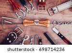 Stock photo dog accessories on wooden background top view pets and animals concept 698714236