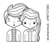 line beauty couple together... | Shutterstock .eps vector #698717383