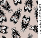 seamless pattern with moth dead ... | Shutterstock .eps vector #698746924