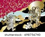 god of wind and thunder... | Shutterstock .eps vector #698756740