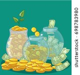 bank  jar  money save money ... | Shutterstock .eps vector #698783980
