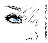blue eye and nails  sketch. | Shutterstock . vector #698797168