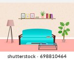living room interior design in... | Shutterstock . vector #698810464