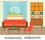 living room interior design in... | Shutterstock . vector #698810470