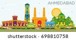 ahmedabad skyline with color... | Shutterstock . vector #698810758