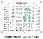 vector set of valentine corners ... | Shutterstock .eps vector #698814430