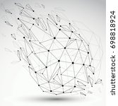 3d contrast wireframe object...   Shutterstock . vector #698818924
