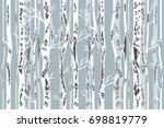 birch grove in autumn. seamless ... | Shutterstock .eps vector #698819779