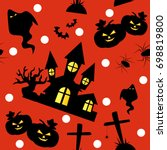 halloween seamless pattern with ... | Shutterstock .eps vector #698819800