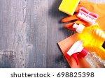 cleaning stuff over wooden...   Shutterstock . vector #698825398