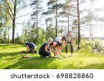 friends playing with building... | Shutterstock . vector #698828860